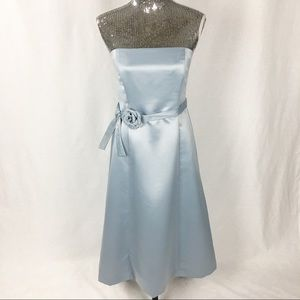 BCBGMaxAzria Strapless Blue Gown with Flower Belt